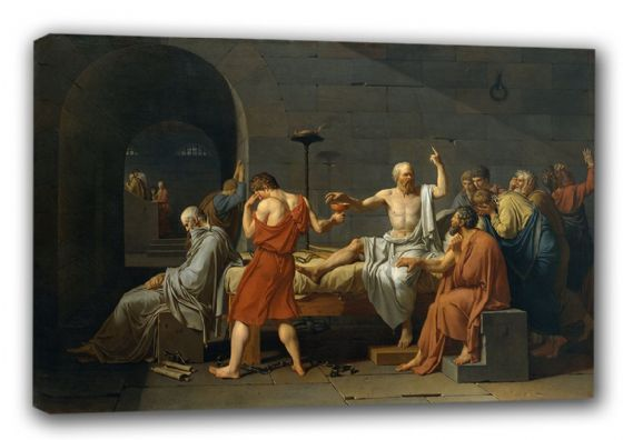 David, Jacques Louis: The Death of Socrates (Classical Greek Philosopher), 1787. Ancient Greek Historical Fine Art Canvas. Sizes: A3/A2/A1 (00221)